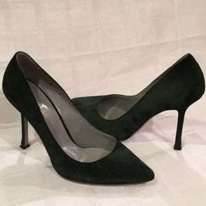 Forest Green Sergio Rossi Secret Suede Pump